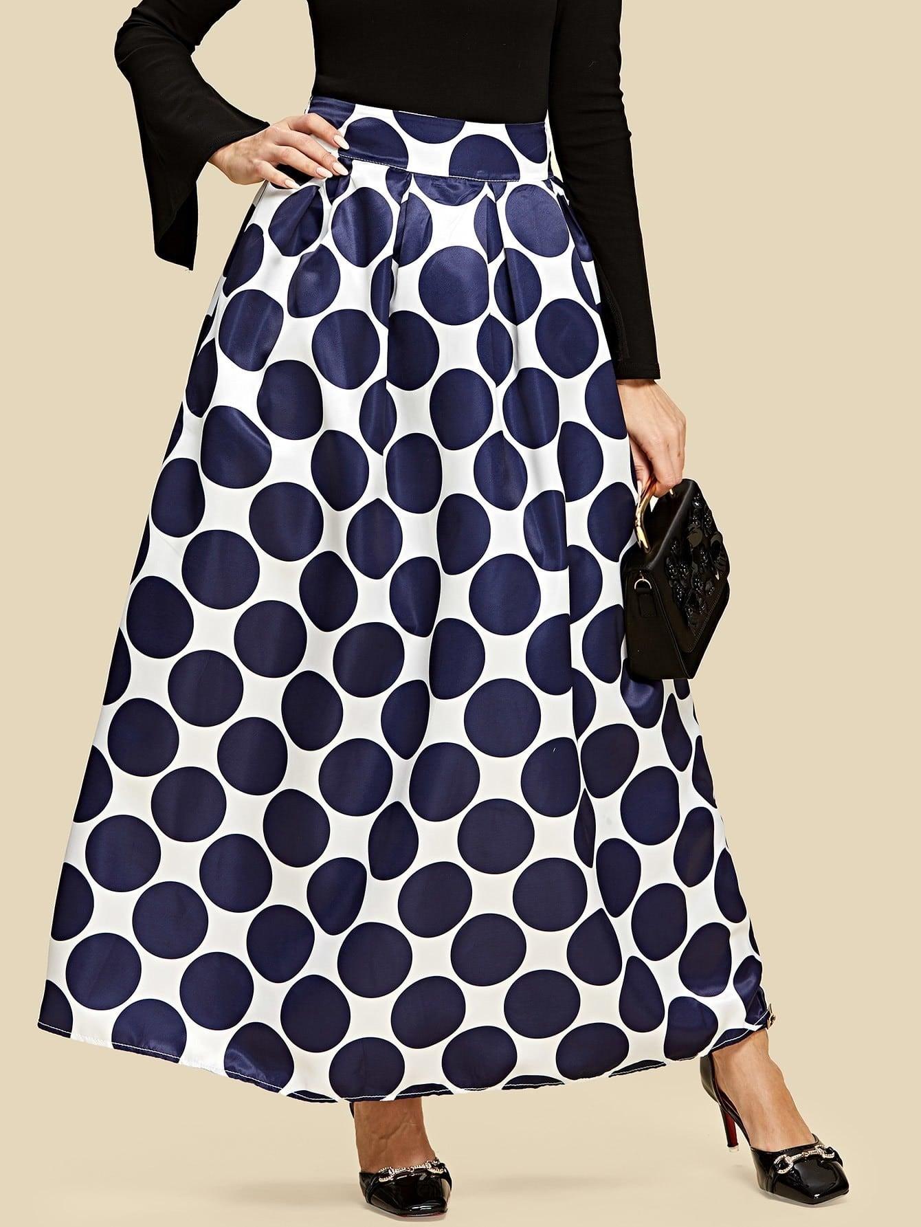 все цены на Boxed Pleated Polka Dot Skirt