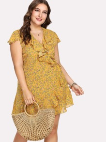 Ruffle Trim Calico Wrap Dress