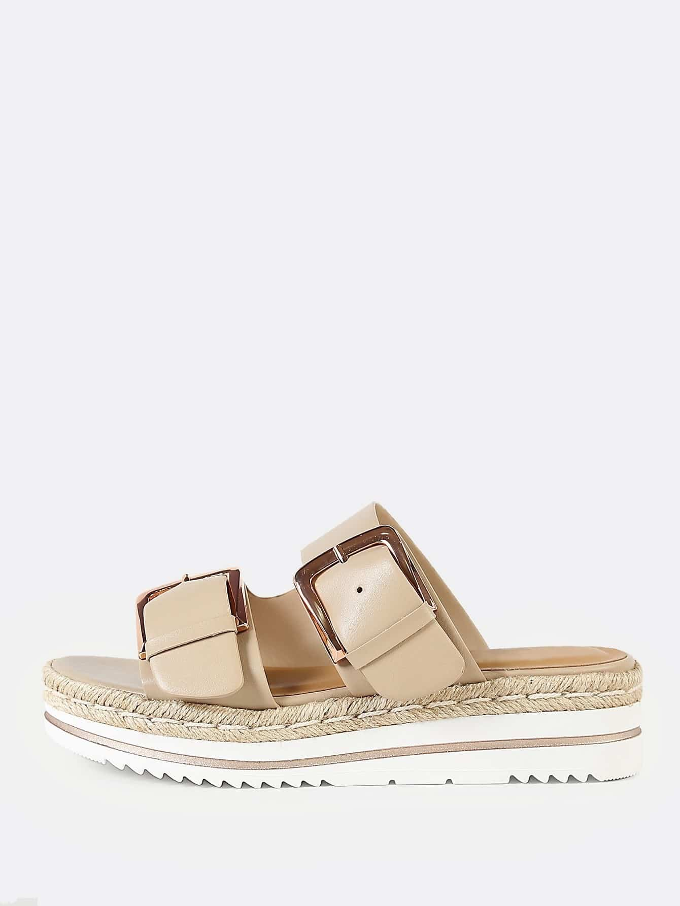 0a2a65f0a876 Espadrille trim double buckle footbed flatform sandal nude jpg 1340x1785  Double strap buckle flatform sandals