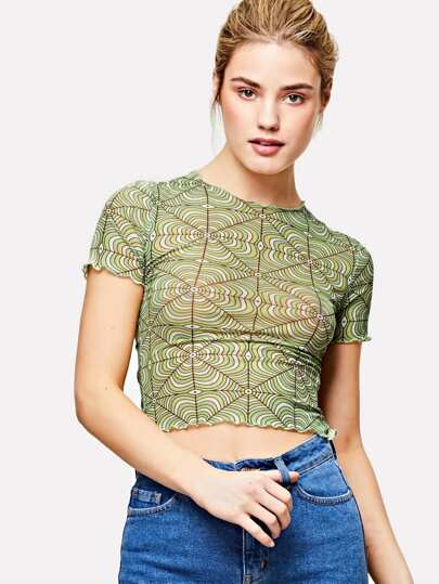 Geo Print Lettuce Trim Top