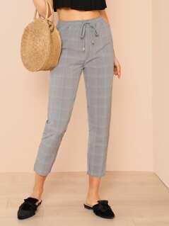 Pocket Patched Plaid Drawstring Pants