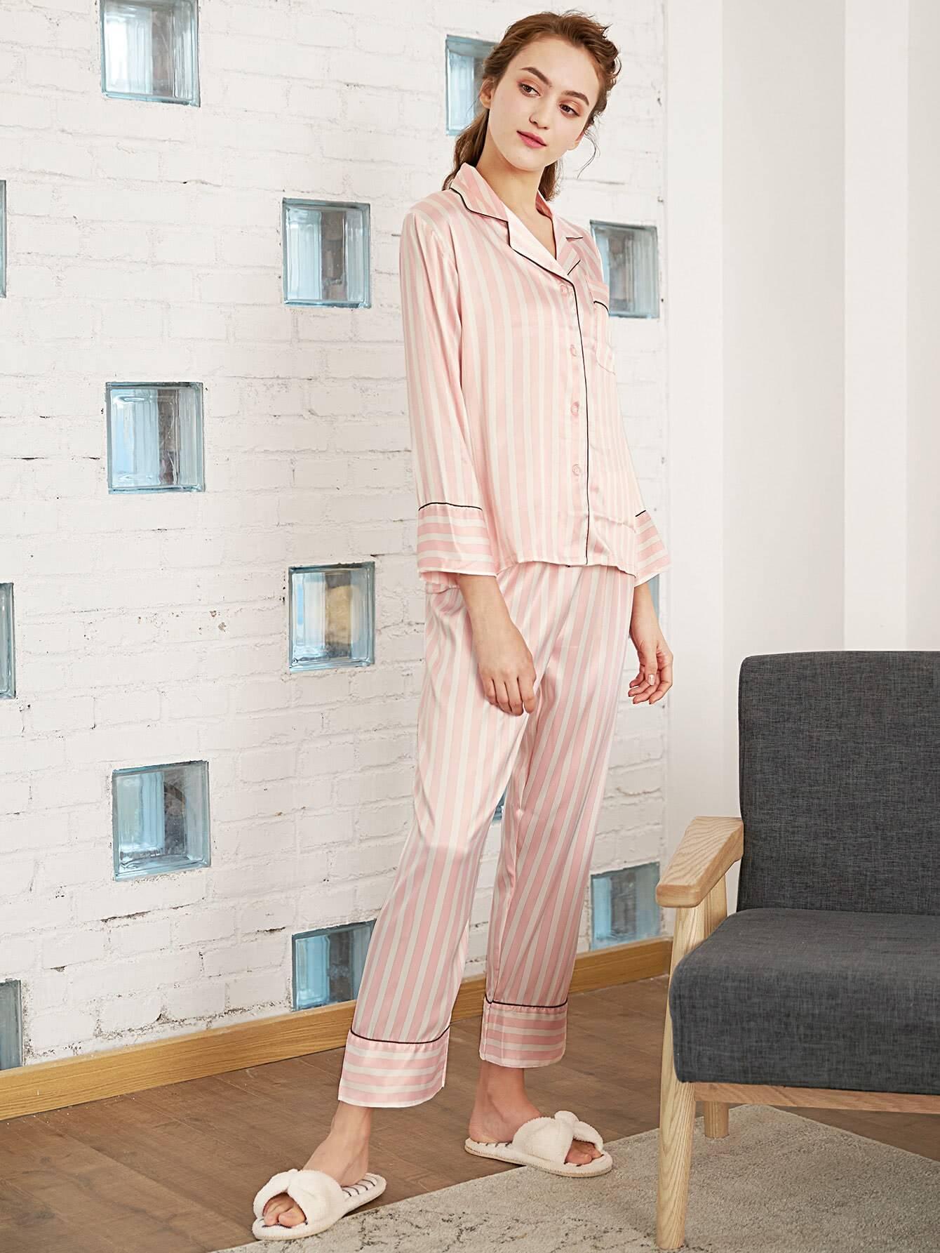 Block Stripe Contrast Binding Top & Pants PJ Set платья yulia dushina платье