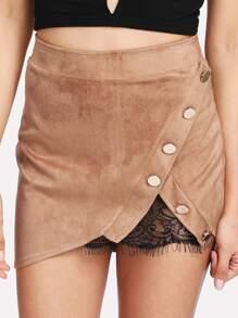 Contrast Eyelash Lace Asymmetric Hem Skirt