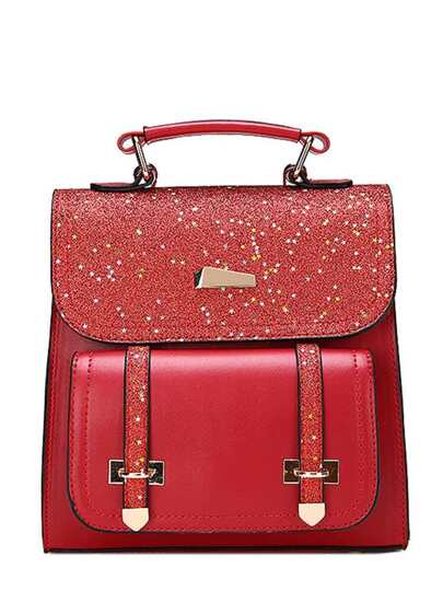 Double Buckle Glitter Backpack