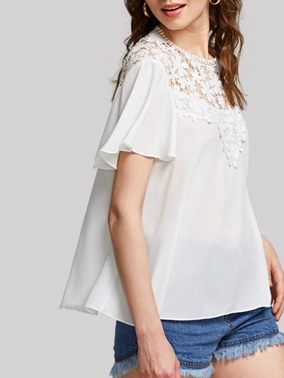 Floral Lace Yoke Flutter Sleeve Top