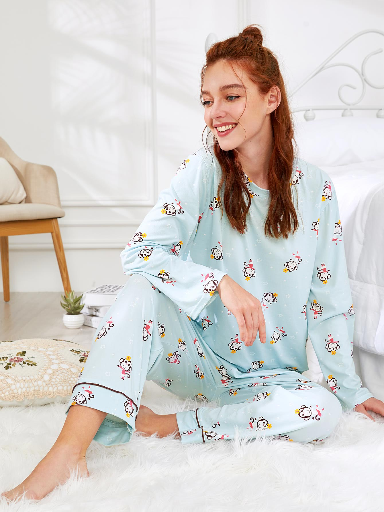 Monkey Print Tee & Pants PJ Set exmork 100 вт 12 в poly si