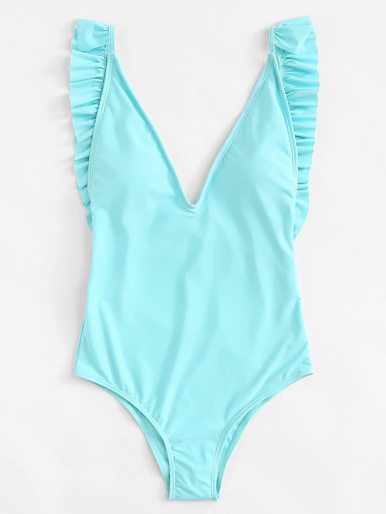 Open Back Ruffle Swimsuit open back swimsuit