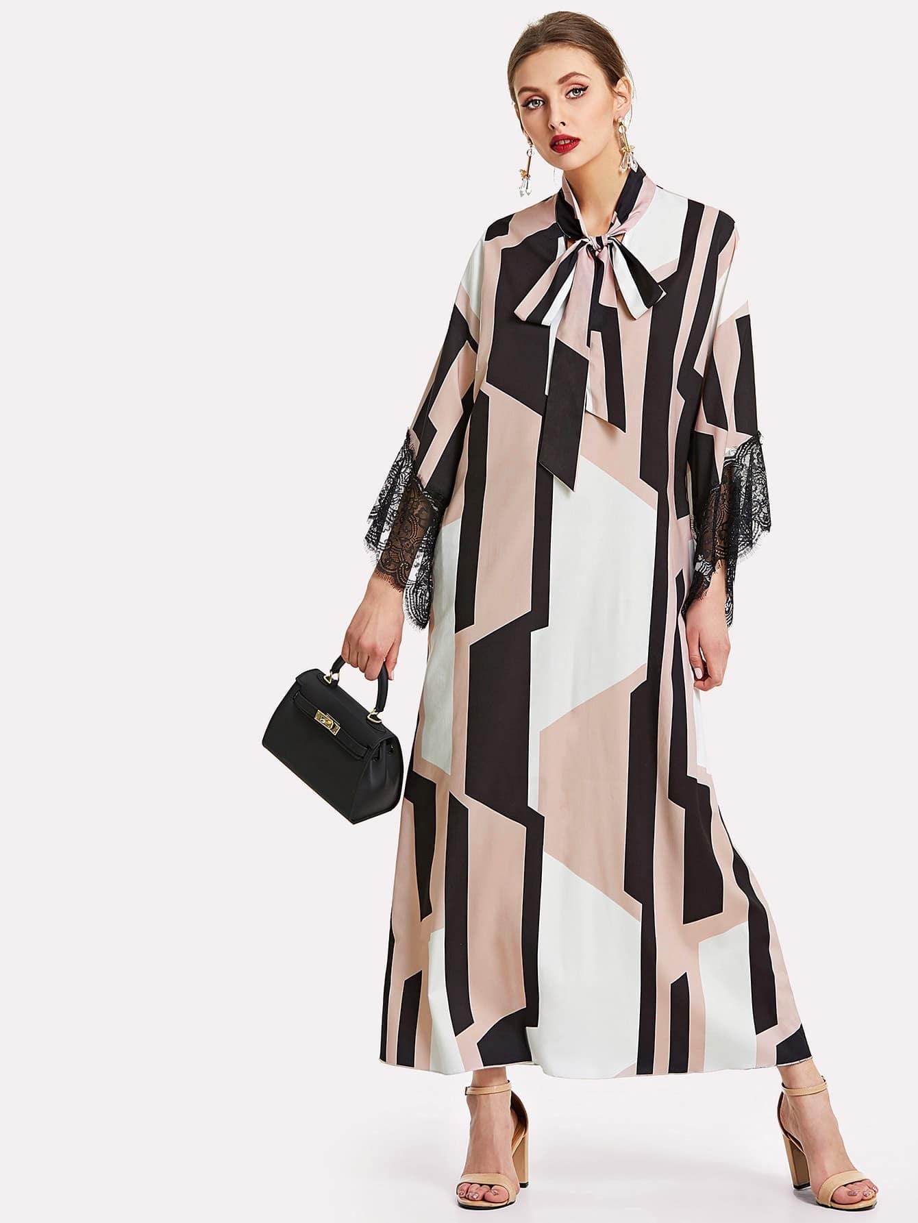 Contrast Lace Tied Neck Geo Hijab Dress tied neck geo print flare dress