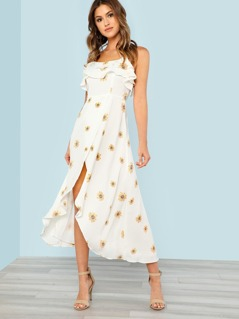 Sunflower Print High Low Dress with Strappy Back OFF WHITE