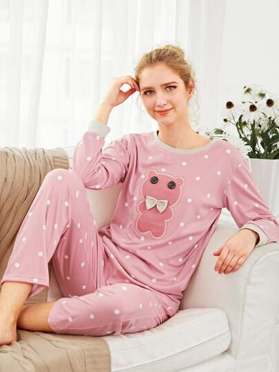 Bear Embroidered Pullover & Pants PJ Set