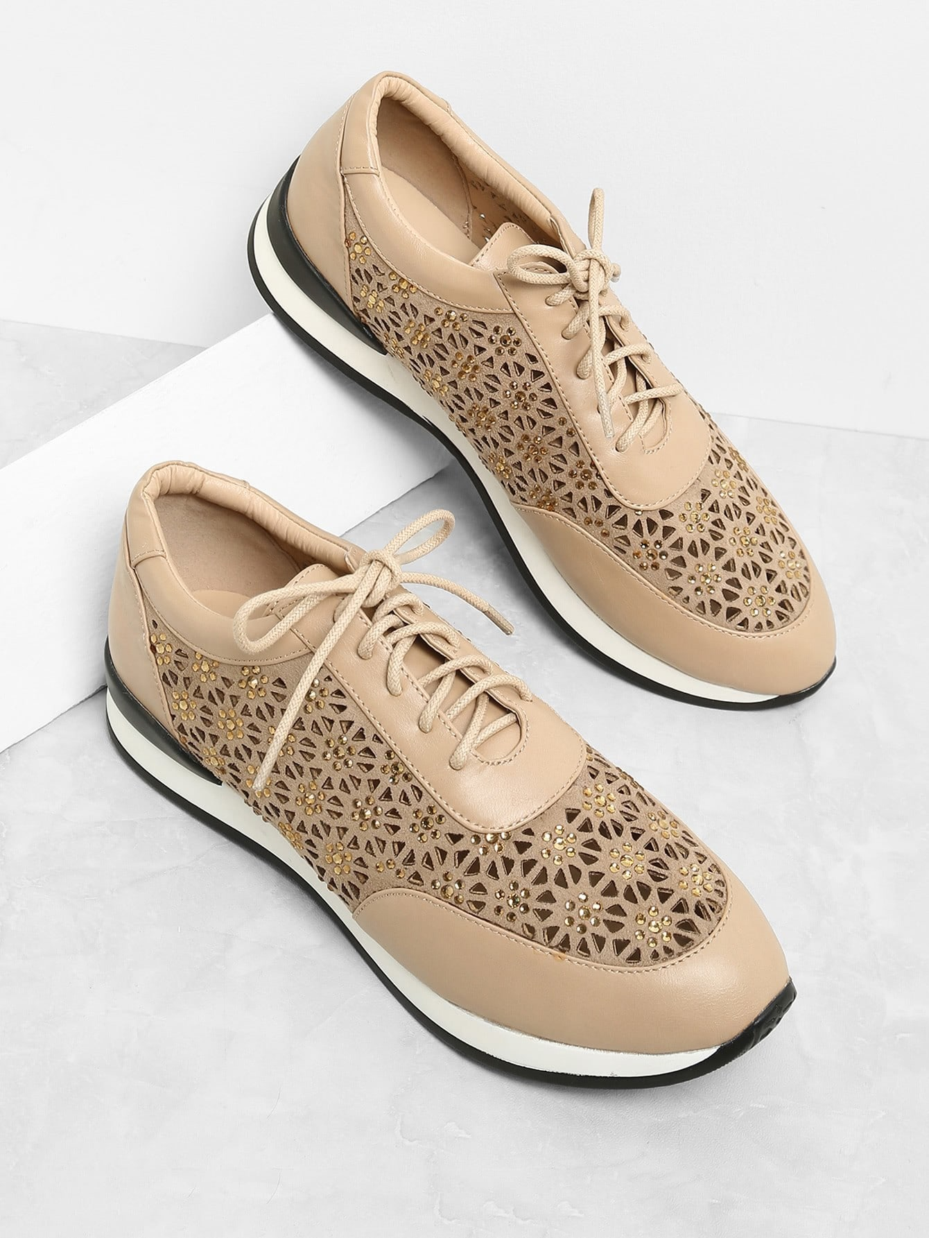 Laser Cutting Lace Up Sneakers