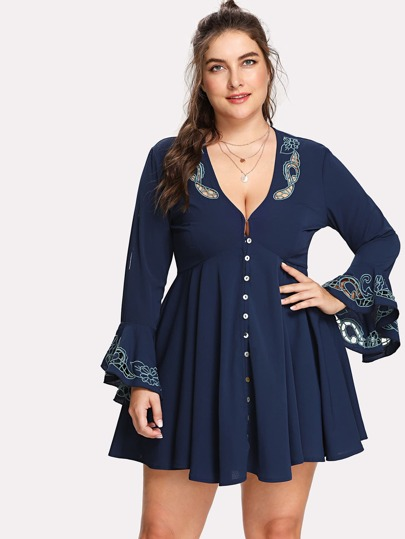 Trumpet Sleeve Button Up Dress