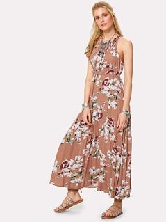 Flower Print Cutout Back Halter Dress