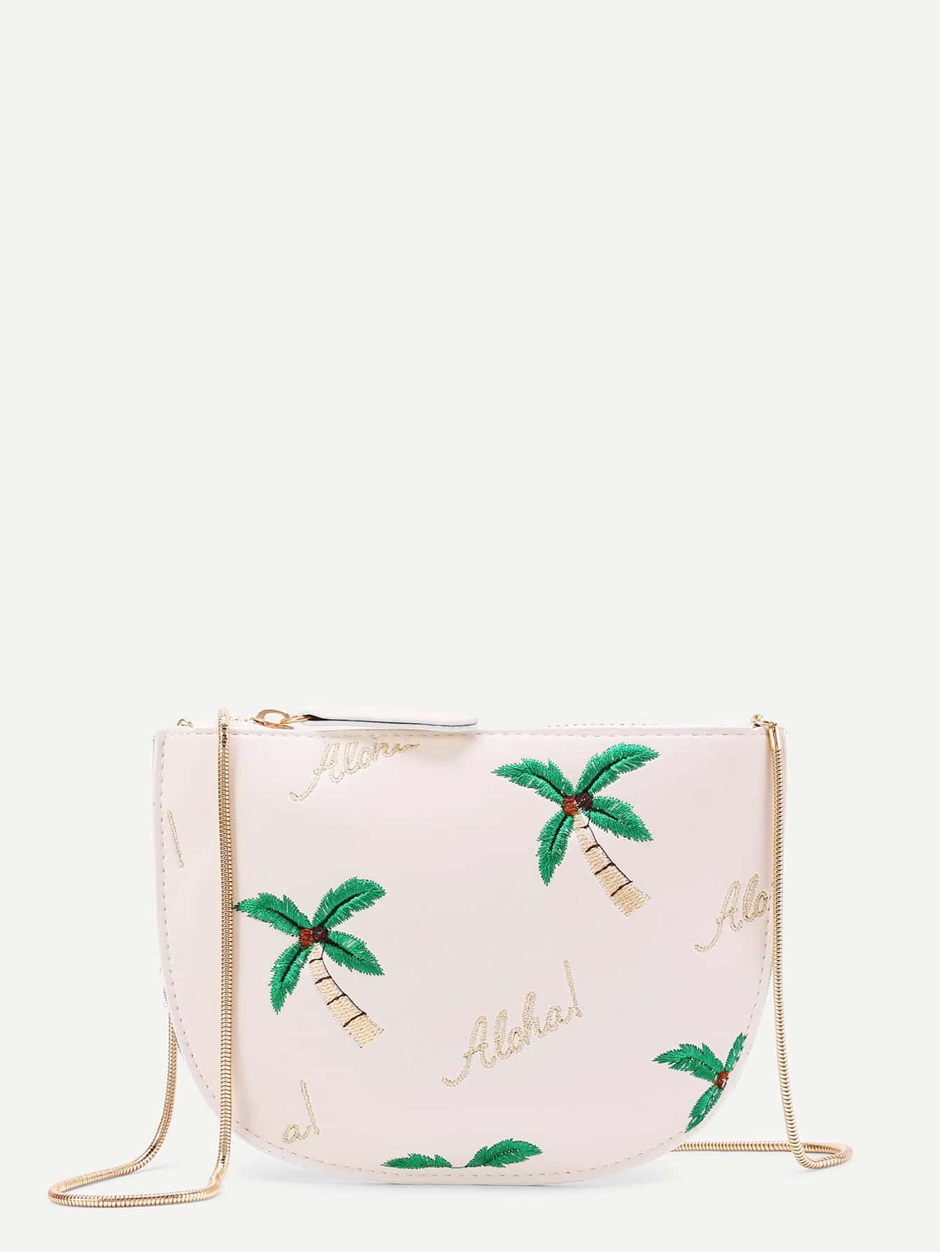 Coconut Tree Embroidered Saddle Bag