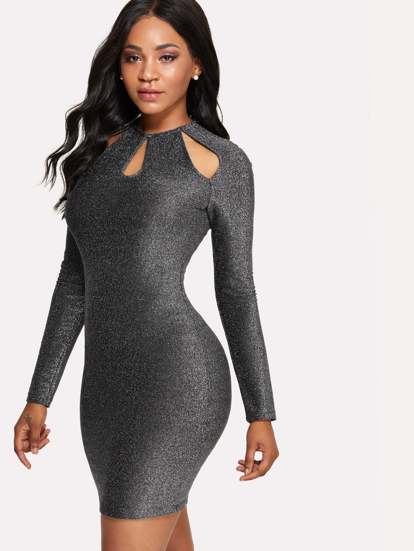 Cut Out Front Pencil Dress cut out front mesh contrast dress