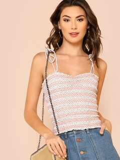 Two Tone Tie Strap Smocked Crop Top GREY CORAL