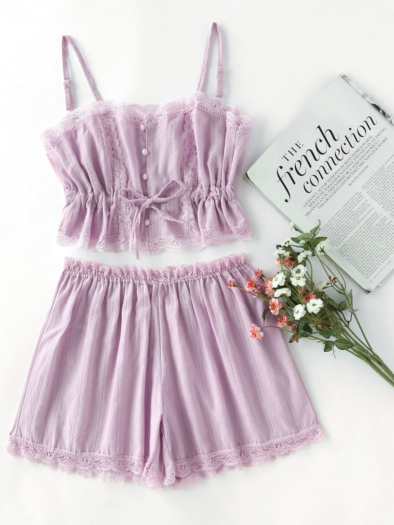 Contrast Lace Cami With Shorts Pajama Set contrast lace cami with shorts pajama set