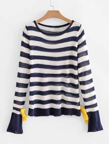 Contrast Striped Tie Cuff Jumper