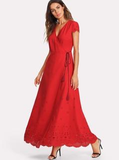 Scallop Laser Cut Trim Tassel Detail Dress