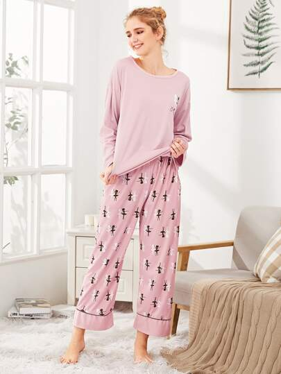 Girl Print Tee & Pants PJ Set