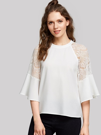 Lace Panel Flounce Sleeve Zip Back Top