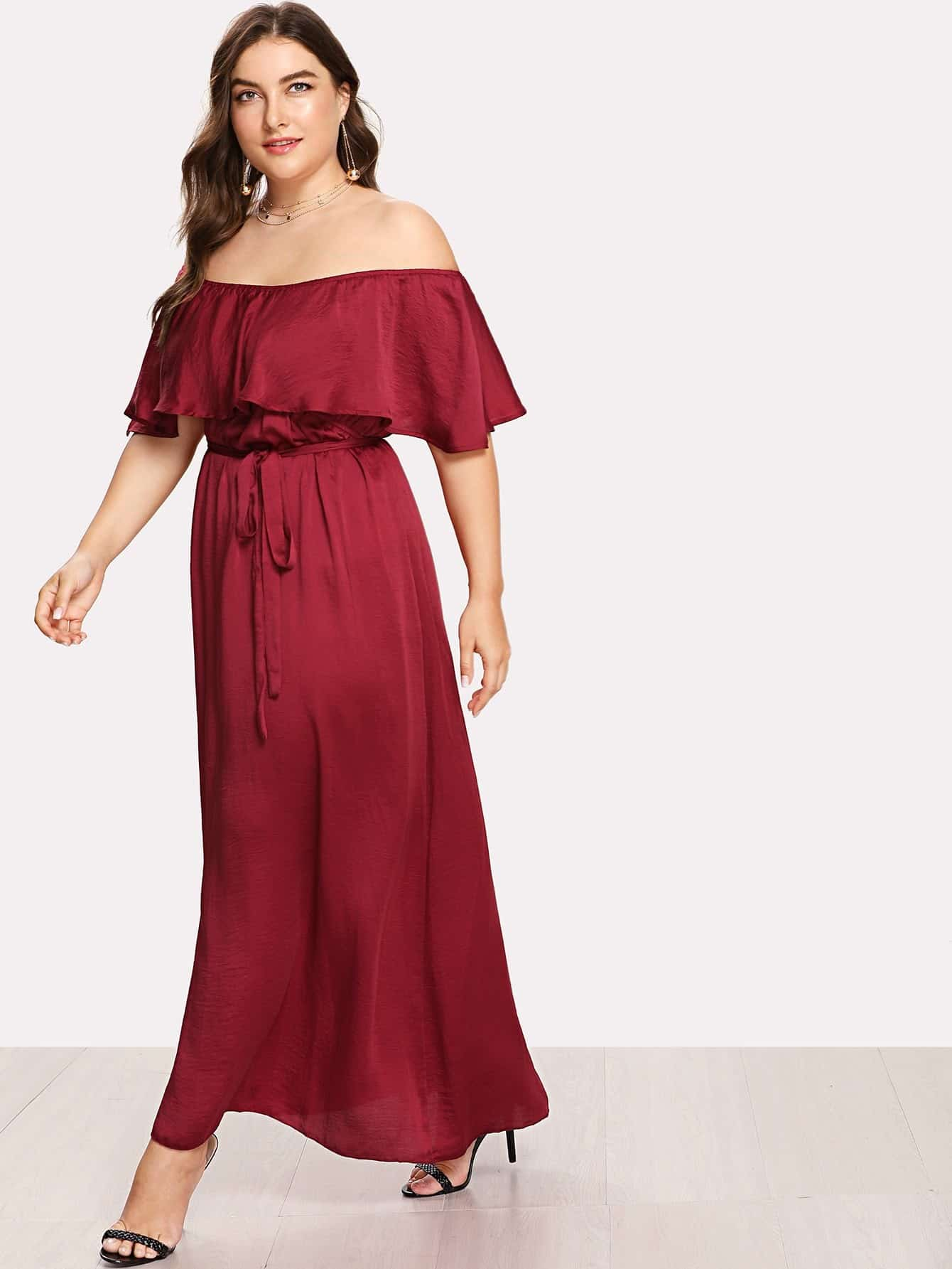 Self Tie Flounce Off Shoulder Dress chic off the shoulder neck tie flounce dress for women