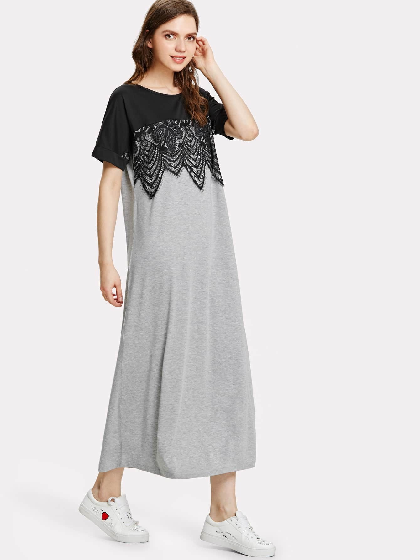 Lace Embellished Two Tone Tee Dress two tone drop shoulder tee