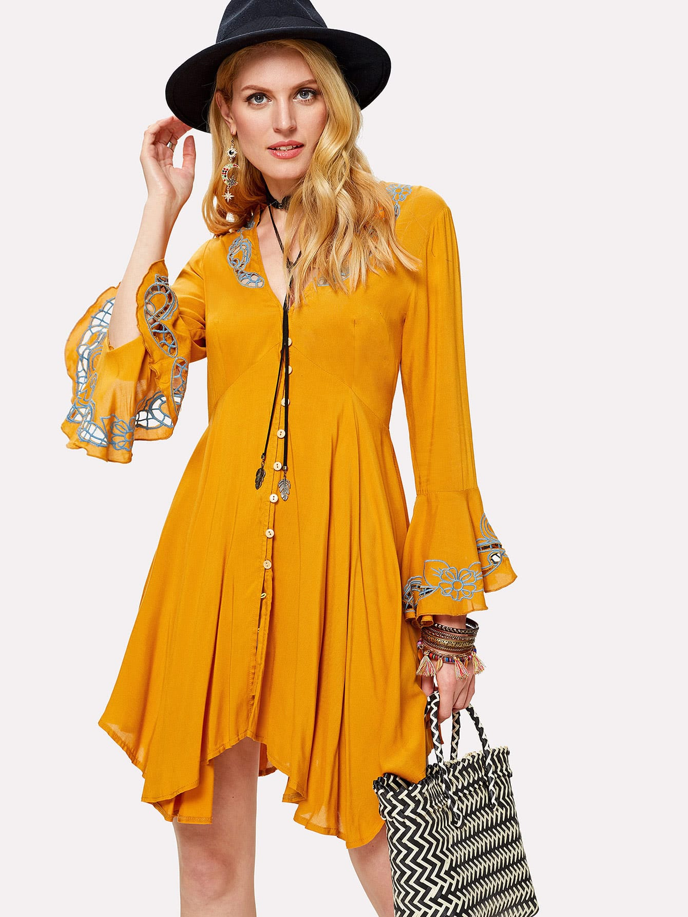 Eyelet Embroidered Button Up Hanky Hem Dress embroidered double layer asym hem sheath dress