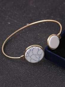 Cuff Bracelet With Round Stone