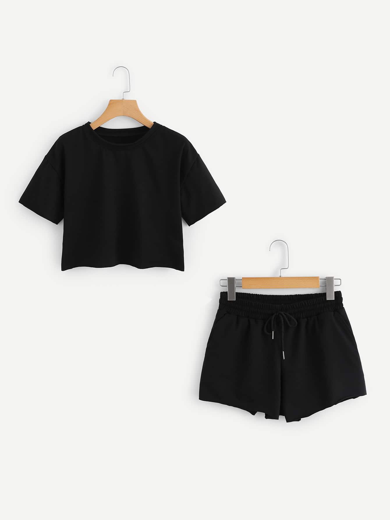 Drop Shoulder Crop Tee With Drawstring Shorts