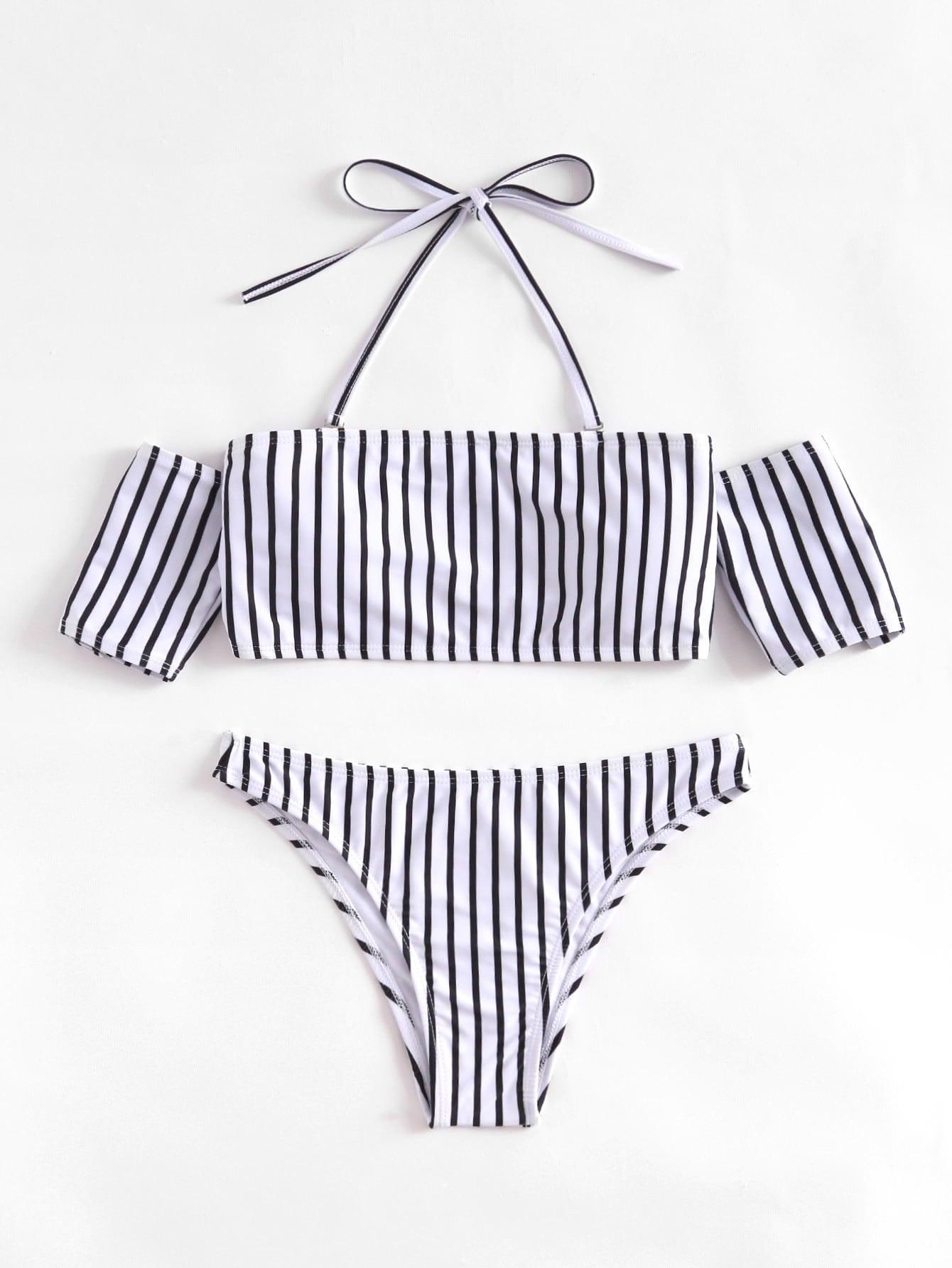 Striped Halter Off The Shoulder Bikini Set halter striped low cut bikini set