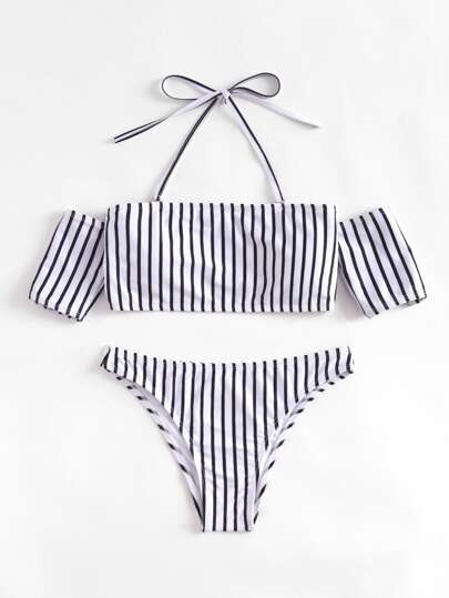Striped Halter Off The Shoulder Bikini Set