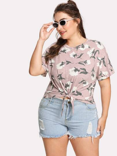 Flower Print Knot Front Tee