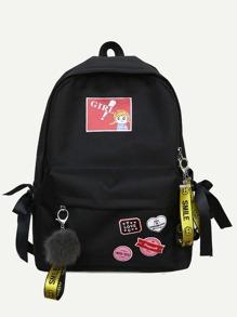 Cartoon Print Pom Pom Decor Backpack