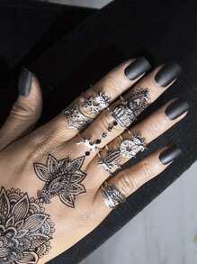 Animal And Leaf Design Ring Set
