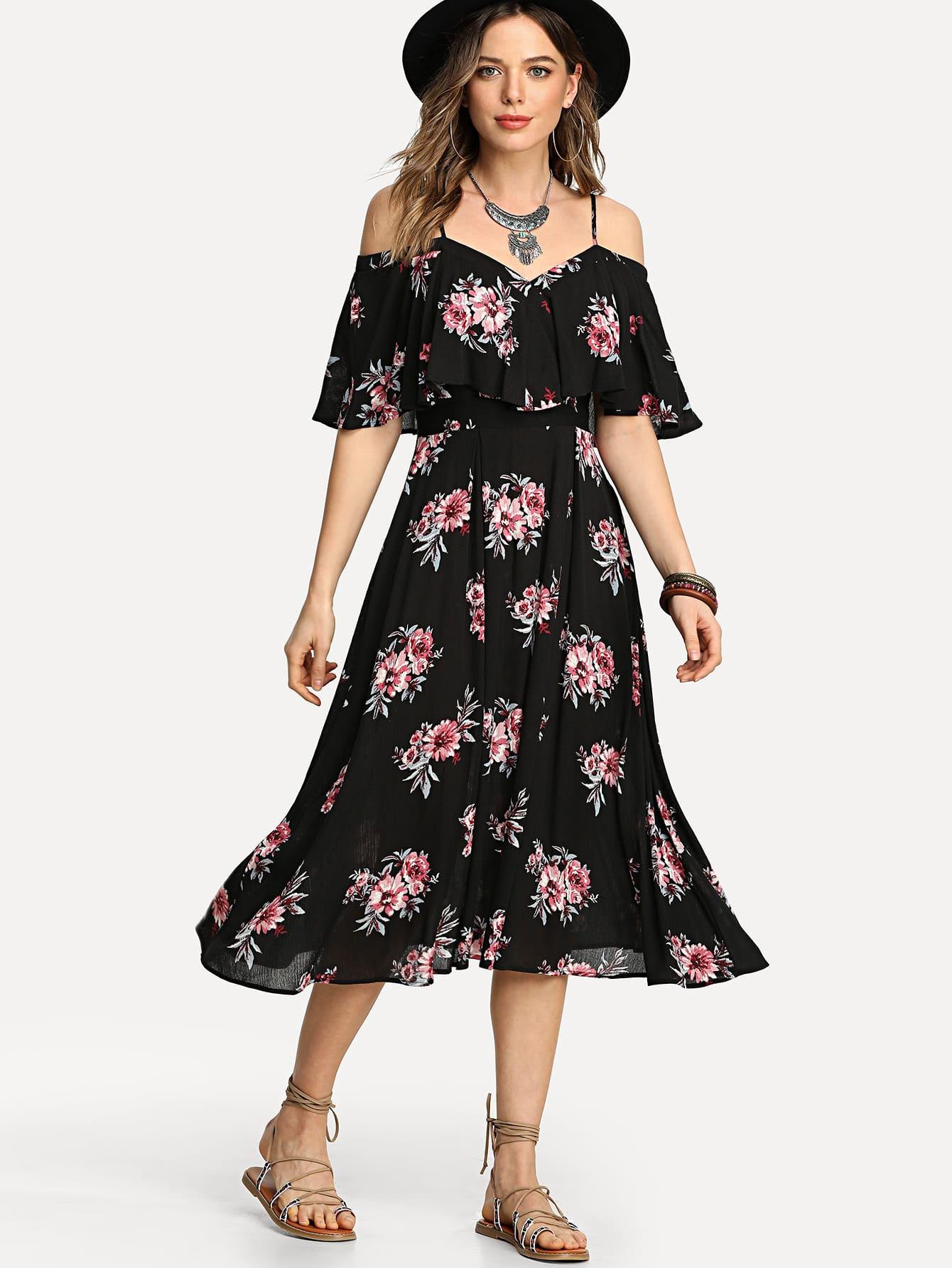Flounce Cold Shoulder Floral Dress цена