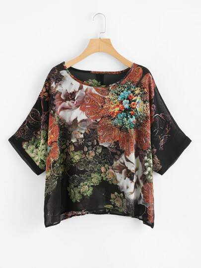 Random Florals Button Back Chiffon Blouse