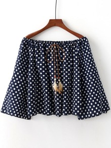 Fluted Sleeve Polka Dot Feather Tie Neck Top