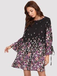 Slit Tied Cuff Botanical Print Dress
