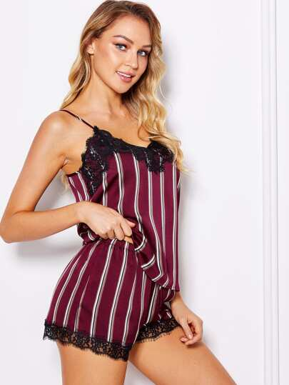 Eyelash Lace Applique Striped Cami Top & Shorts PJ Set