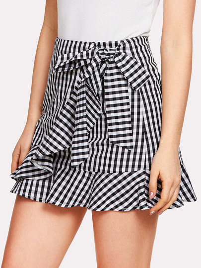 Ruffle Trim Knot Gingham Skirt