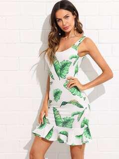 Tropical Print Open Back Ruffle Hem Dress