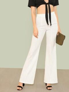 Pin Stripe Bell Bottom Pants IVORY BLACK