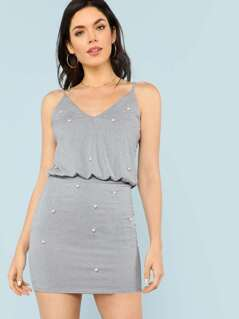 Blouson Spaghetti Strap Dress with Pearl Detail SILVER