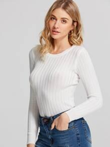 Round Neck Ribbed Knit Sweater ROMWE
