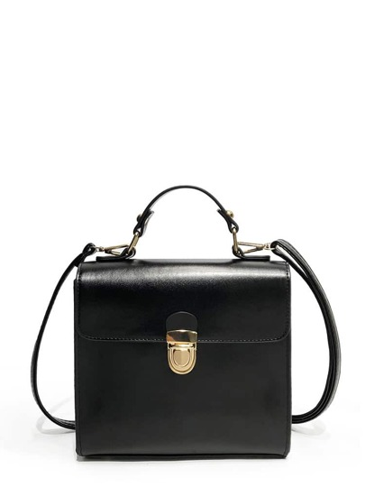 Push Lock Square Satchel Bag