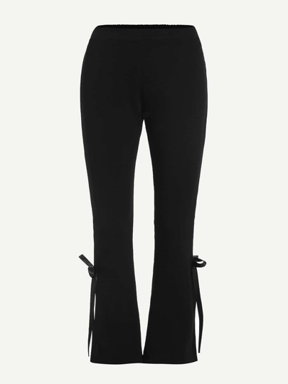 Knot Side Flared Leg Pants