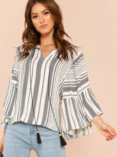 Double Tiered Flounce Sleeve Peasant Top with Tassels BLACK WHITE
