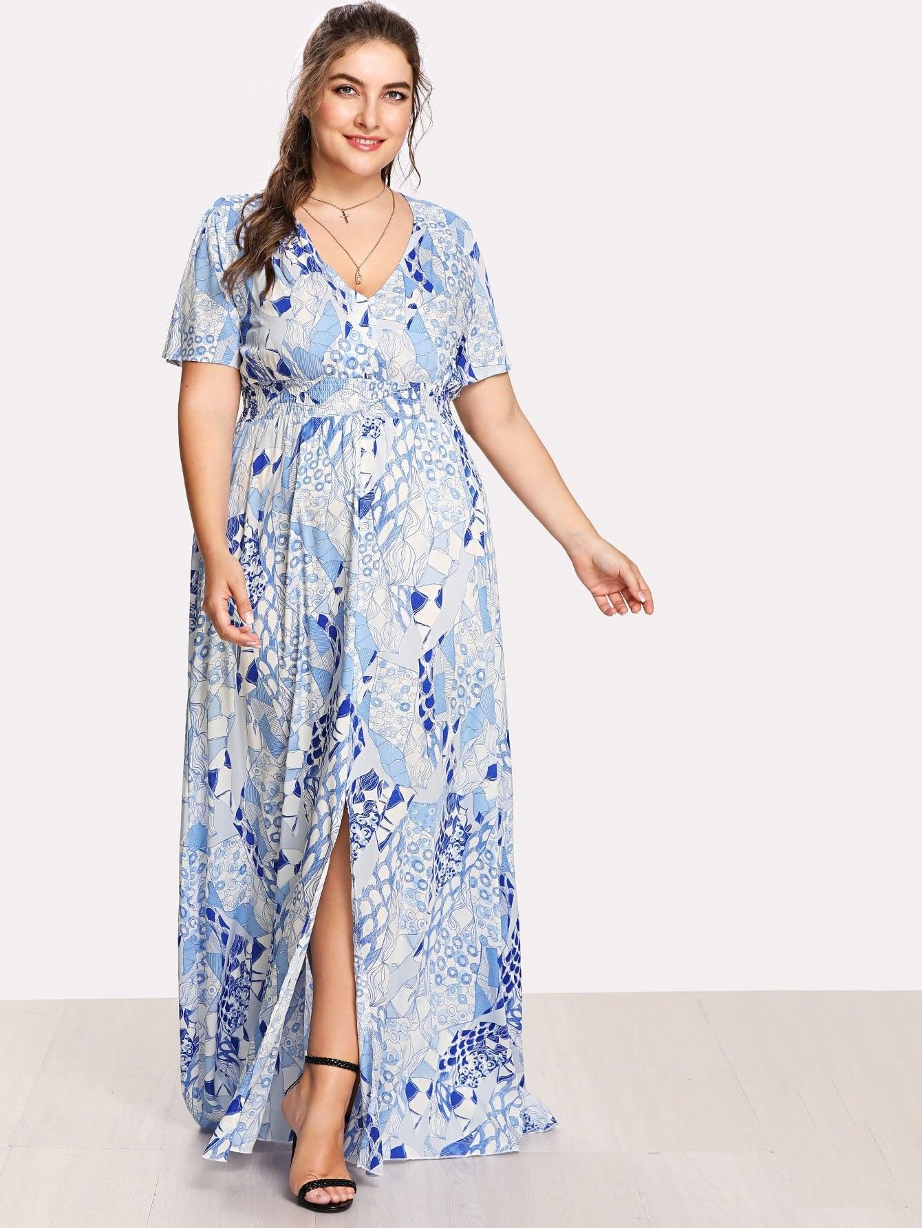 Button Front Shirred Waist Abstract Print Dress shirred waist zip back fit