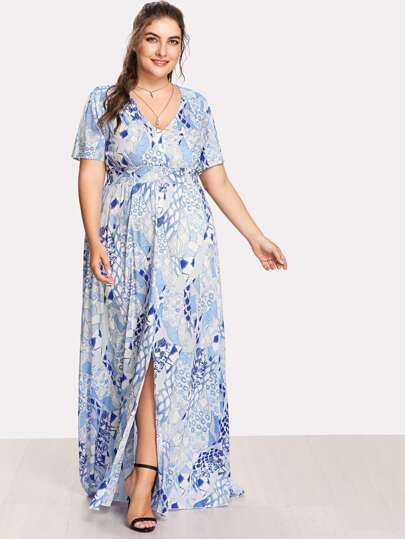 Button Front Shirred Waist Abstract Print Dress